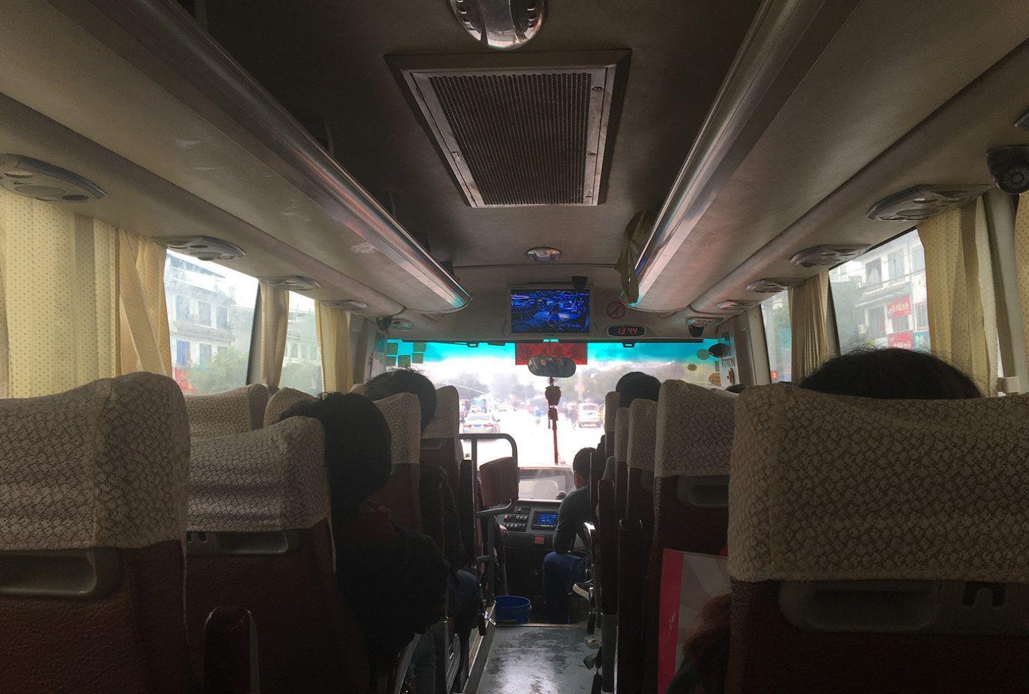 Внутри китайского автобуса
